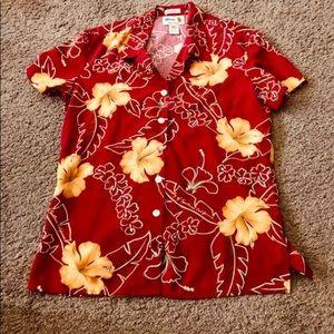 Reyn Spooner USC XS Vintage 100% Silk Floral Shirt